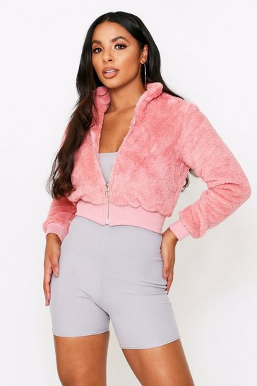 Womens Pink Teddy Zip Up Jacket