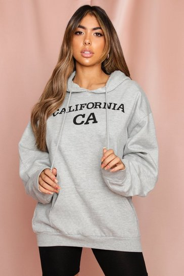 Grey Oversized California Slogan Hoodie