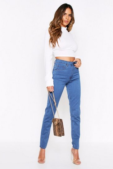 Womens Mid wash High Waisted Disco Fit Skinny Jean