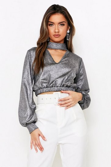 Womens Silver Crackle High Neck Keyhole Top