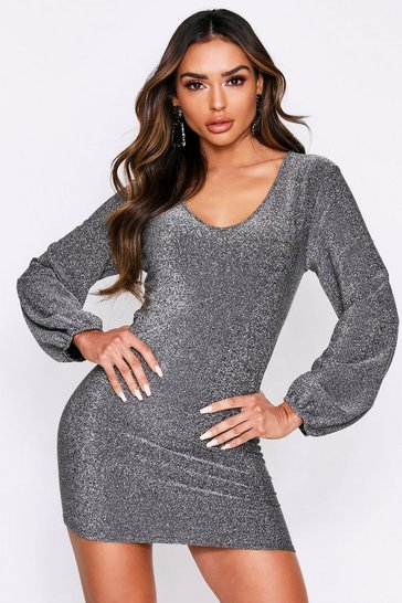 Womens Silver Plunge Key Hole Gathered Back Glitter Mini Dress