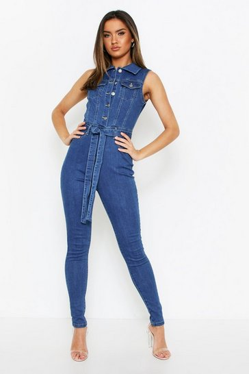 Womens Mid blue Blue Tie Waist Denim Jumpsuit