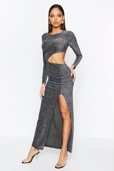 Silver Metallic Cut Out Thigh Split Maxi Dress