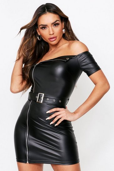 Black leather look Zip Front Bardot Bodycon Dress