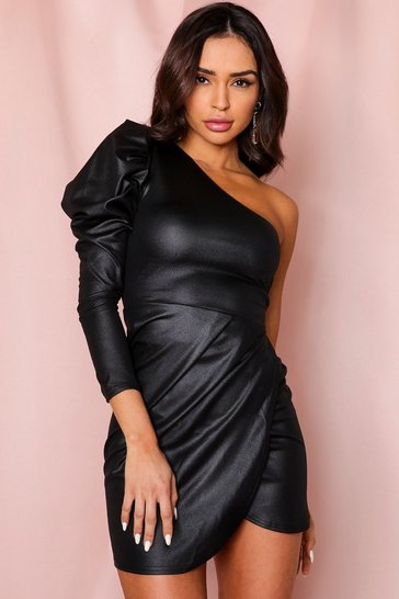 Womens Black Wetlook One Shoulder Puff Sleeve Dress