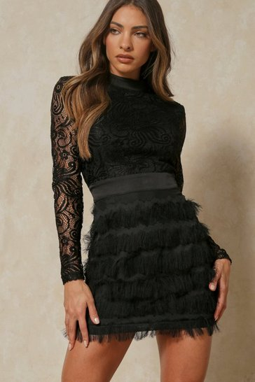 Womens Black Fringed Skirt High Neck Lace Dress