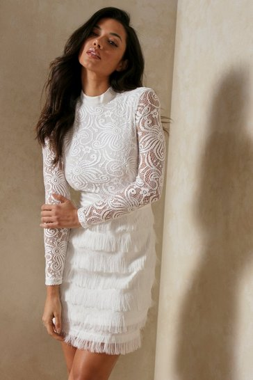 White Fringed Skirt High Neck Lace Dress