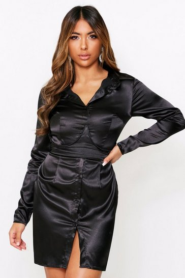 Womens Black Satin Underwired Shirt Dress