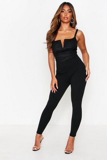 Womens Black Ruched V Bar V Jumpsuit