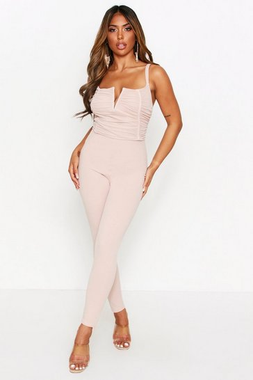 Tan Ruched V Bar V Jumpsuit