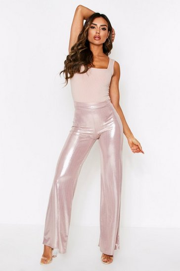 Womens Gold Metallic Wide Leg Pants