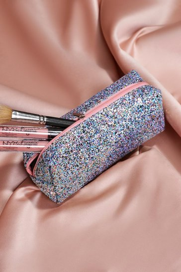Blue Glitter Make Up Bag
