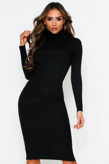 Womens Black Roll Neck Rib Knit Midaxi Dress