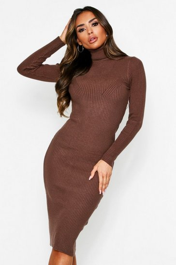 Womens Chocolate Roll Neck Rib Knit Midaxi Dress