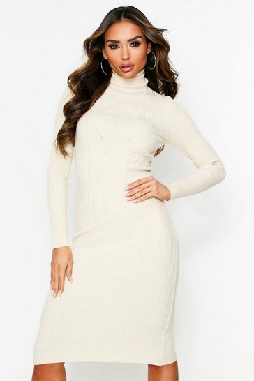 Womens Stone Roll Neck Rib Knit Midaxi Dress