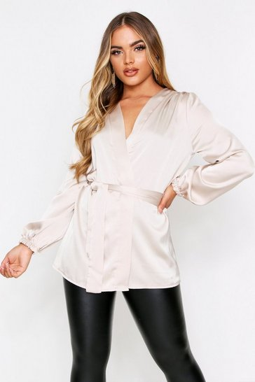 Womens Champagne Satin Wrap Front Blouse