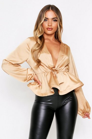 Womens Champagne Satin Plunge Tie Top
