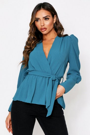 Womens Teal Puff Sleeve Wrap Blouse