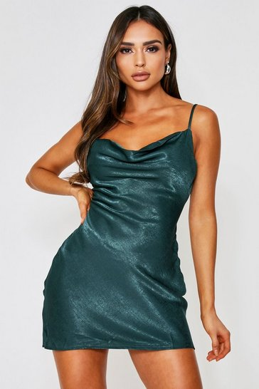 Womens Emerald Hammered Satin Cowl Neck Dress