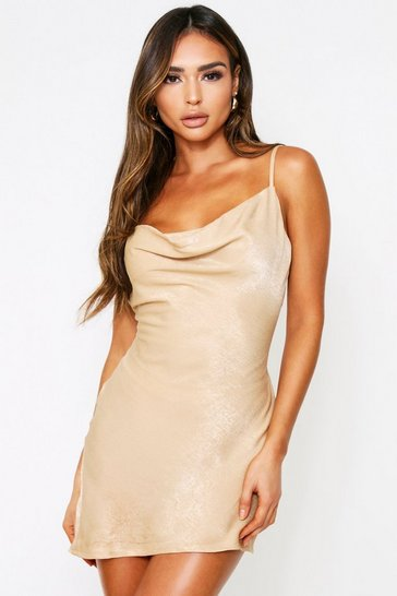 Gold Hammered Satin Cowl Neck Dress