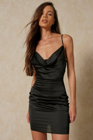 Black Ruched Side Satin Cowl Neck Dress