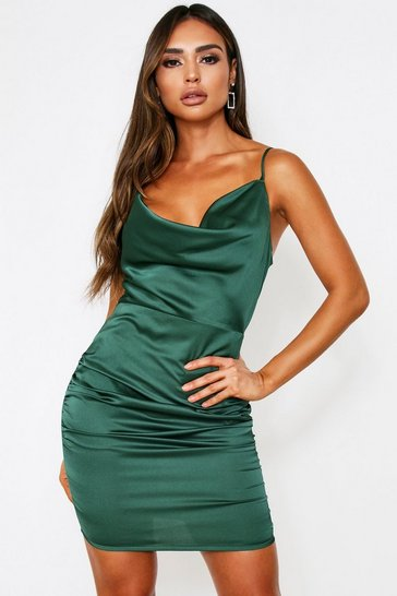 Womens Emerald Satin Cowl Neck Ruched Side Dress