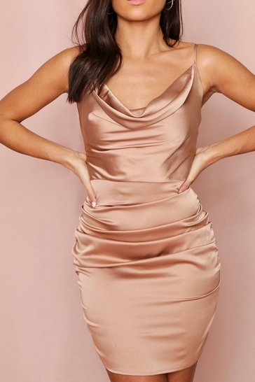 Taupe Satin Cowl Neck Ruched Side Dress