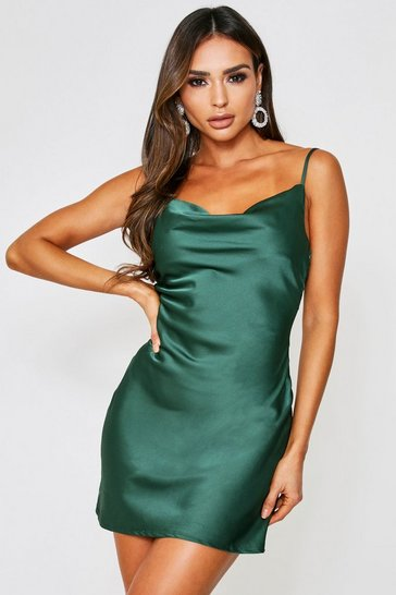 Womens Emerald Satin Cowl Neck Mini Dress