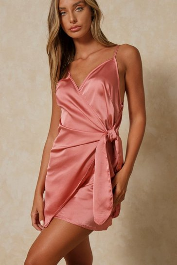 Womens Rose pink Satin Tie Side Wrap Dress