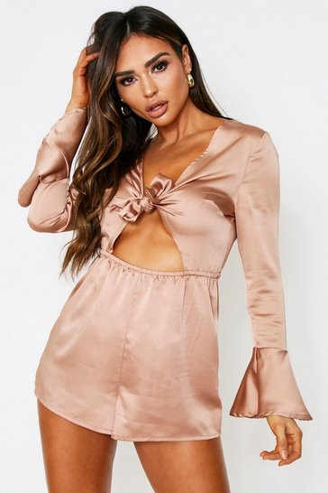 Taupe Satin Tie Front Cutout Playsuit