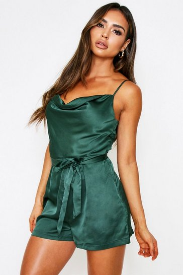 Womens Emerald Satin Cowl Neck Belted Playsuit