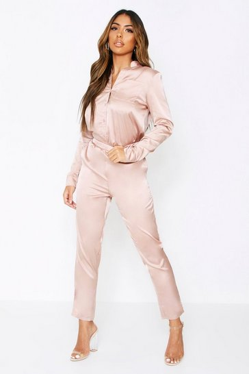 Womens Taupe Satin Shirt & Trouser Co-Ord