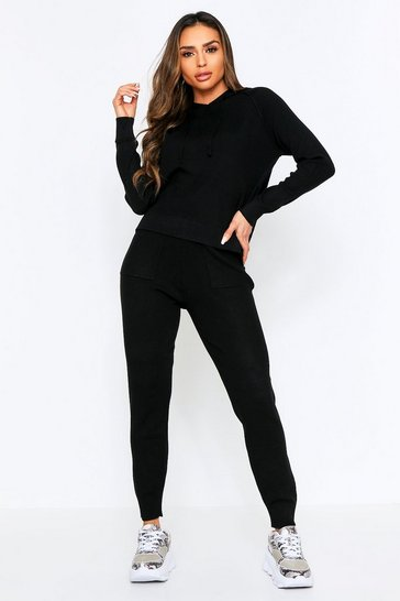 Black Knitted Hooded Lounge Set