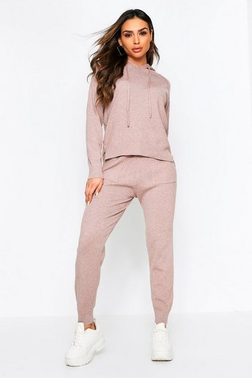 Taupe Knitted Hooded Lounge Set