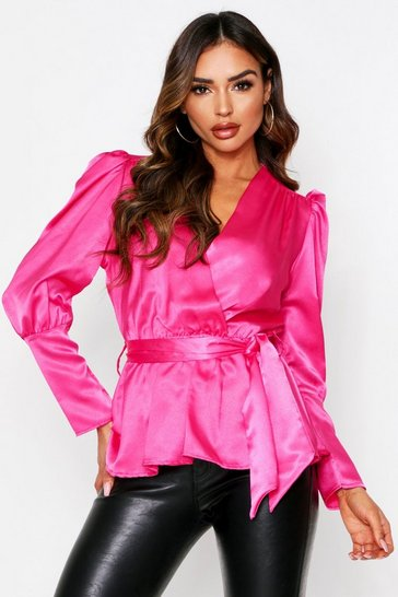 Hot pink Satin Wrap Over Puff Sleeve Top