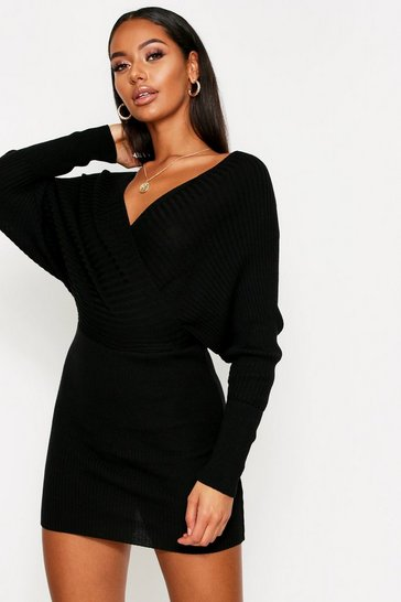 Womens Black Knitted Wrap Mini Dress