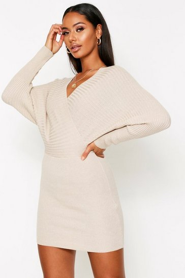 Womens Stone Knitted Wrap Mini Dress