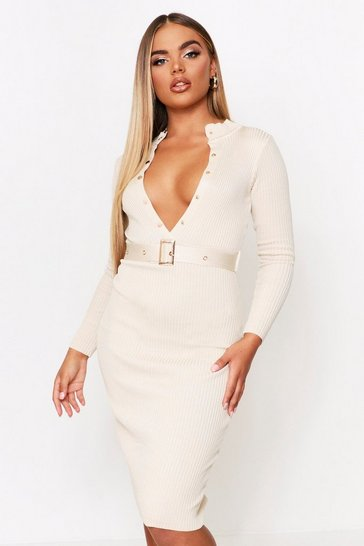 Womens Cream Knitted Belted Dress