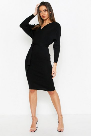 Womens Black Fine Knitted V Front Dress