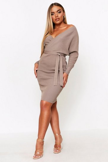 Womens Taupe Fine Knitted V Front Dress