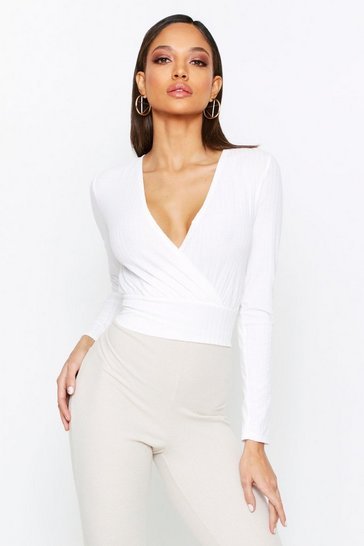 Cream Soft Rib Wrap Top