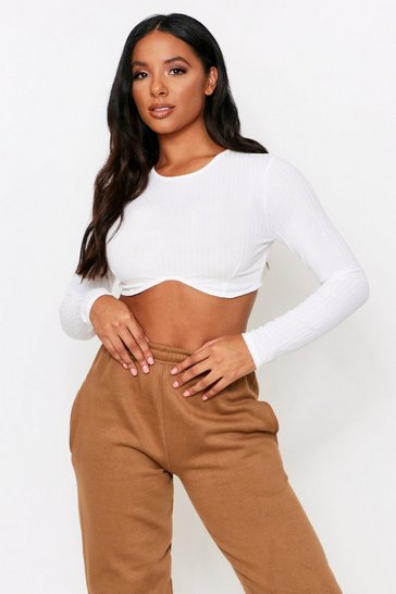 Cream Curved Hem Long Sleeve Rib Crop Top
