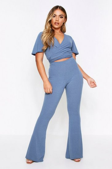 Petrol Soft Rib Wrap Top & Flared Pant Lounge Set