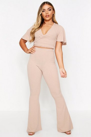 Stone Soft Rib Wrap Top & Flared Pant Lounge Set