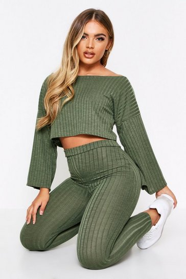 Khaki Slash Neck Wide Sleeve & Legging Lounge Set