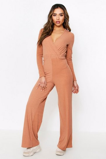Camel Wide Leg Wrap Jumpsuit