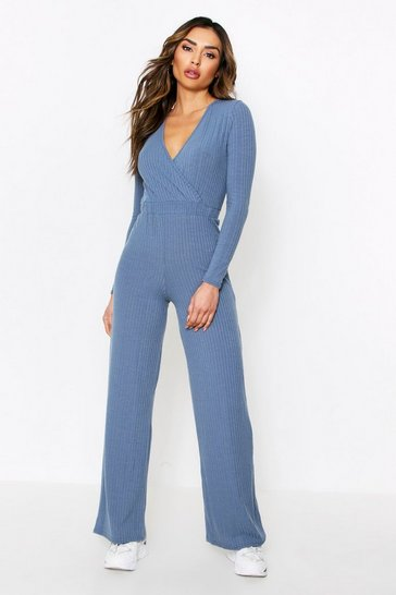 Petrol Wide Leg Wrap Jumpsuit