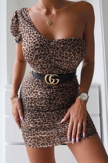 Womens Leopard One Shoulder Puff Sleeve Mesh Mini Dress