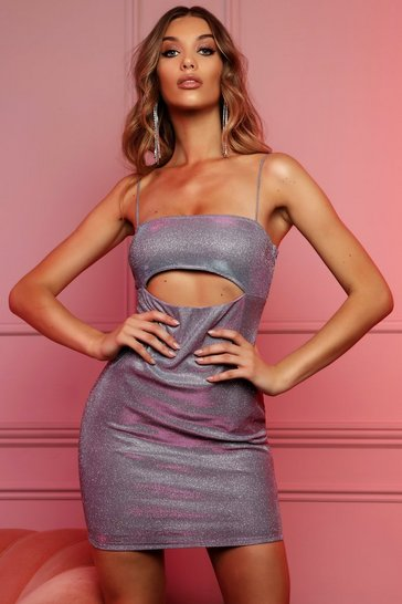 Womens Lilac Metallic Under Boob Mini Dress
