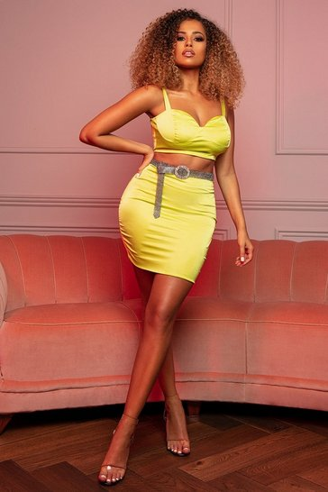 Womens Lime Stretch Satin Double Layer Mini Skirt Co Ord